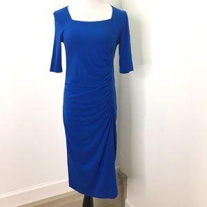 Isabella Oliver Cobalt Blue Rouched Sheath Dress